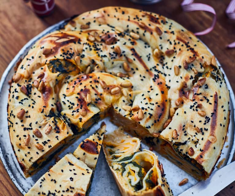 Sweet Potato Strudel with Spinach and Pine Nuts