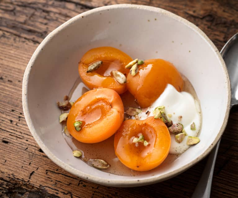 Steamed Apricots with Cardamom Syrup