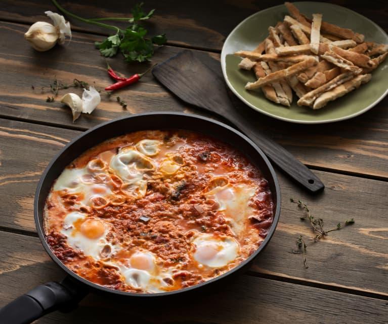 Guiso especiado de tomates con huevos (Shakshuka) - Israel