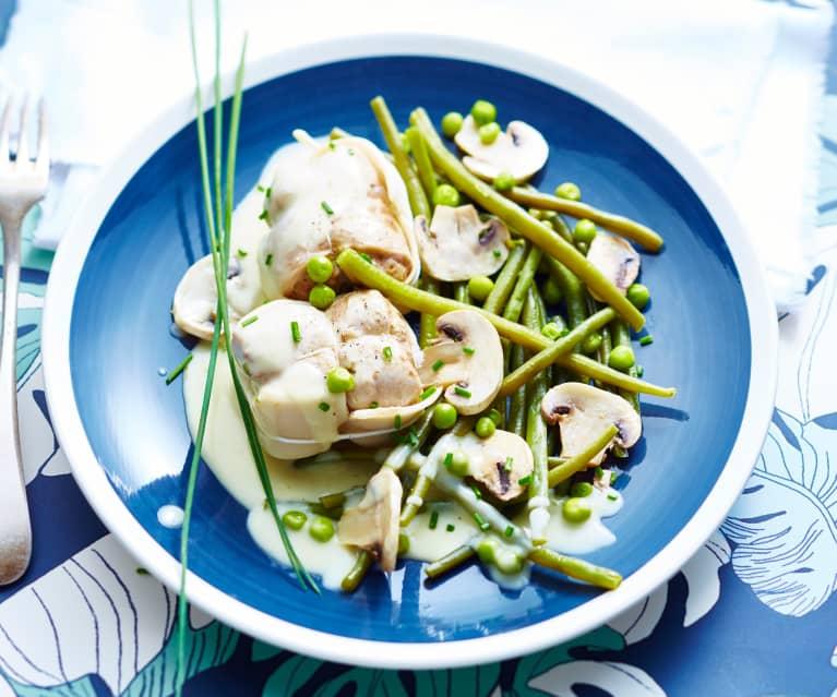 Paupiettes de veau en sauce, champignons et légumes