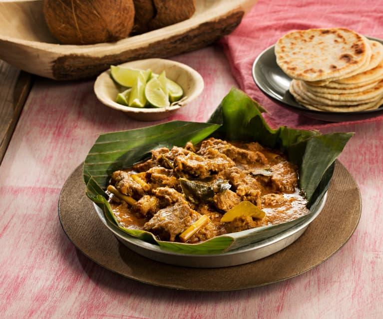 Guiso de ternera (Kuruma iraichchi) y pan roti de coco - Sri Lanka