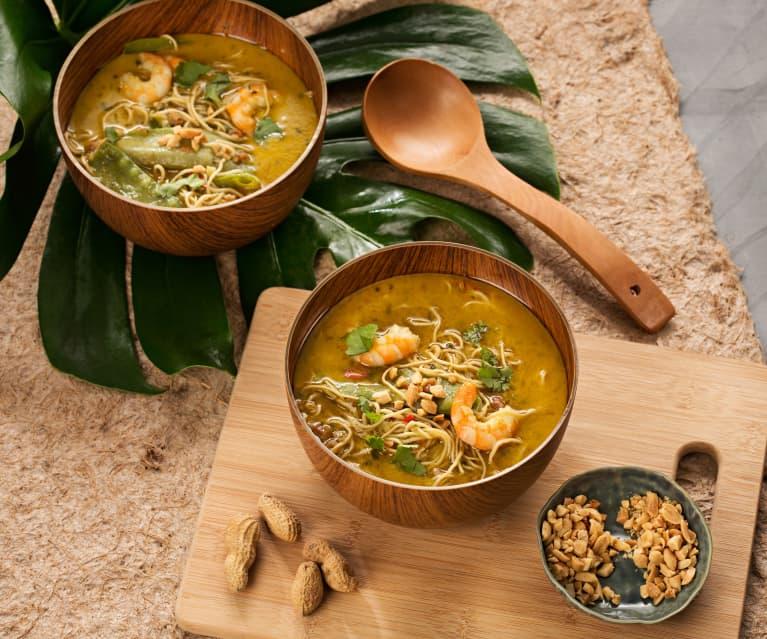 Sopa de fideos, gambas y leche de coco (Laksa) - Malasia
