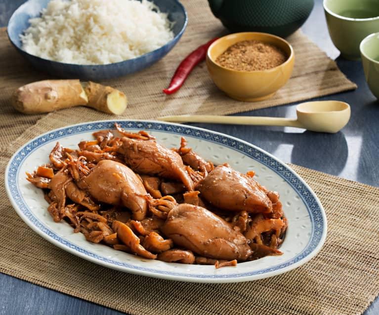 Calamares en salsa de jengibre y soja con arroz - China
