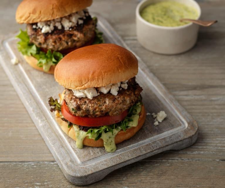 Lamb Burgers with Garlic Herb Mayo