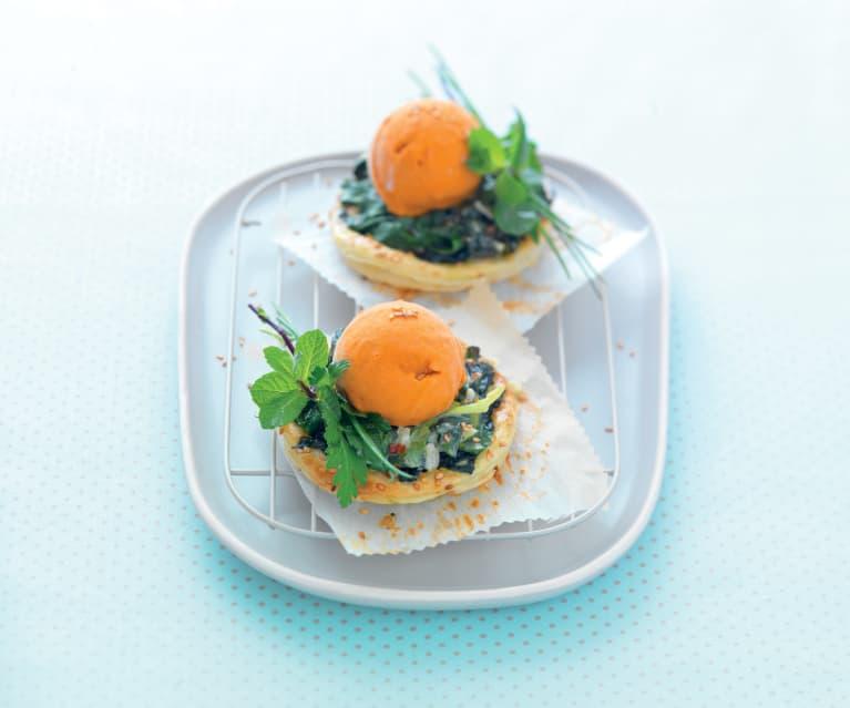 Tartelette fine aux épinards, glace poivron-gorgonzola