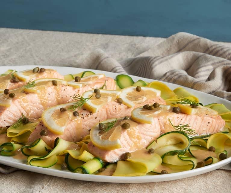 Lemon Caper Salmon with Ribbon Squash