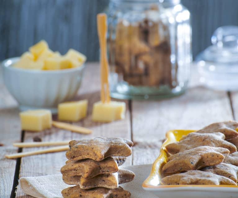 Biscotti salati con olive nere e semi di chia