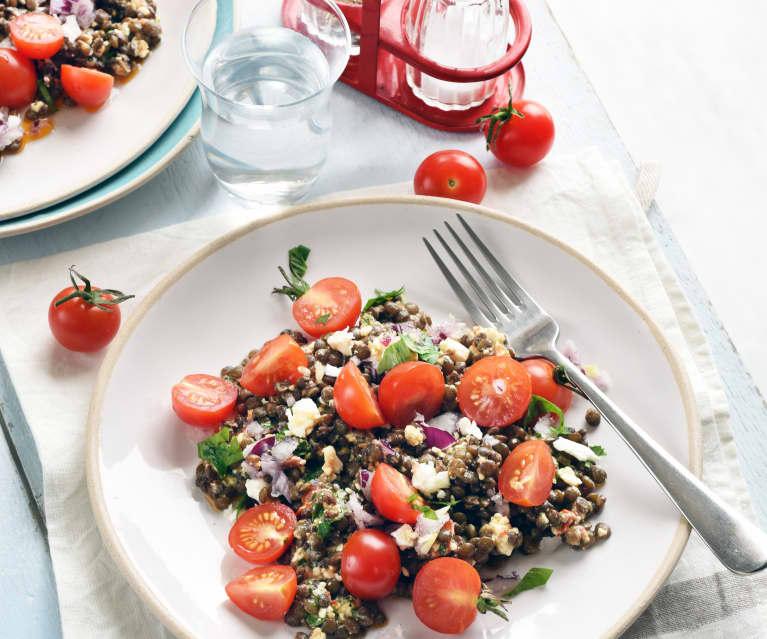 Salade de lentilles, feta et tomates