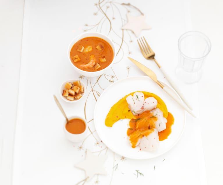 Bisque de crevettes et saint-jacques, croûtons au beurre safrané. Médaillons de cabillaud sauce Armoricaine.