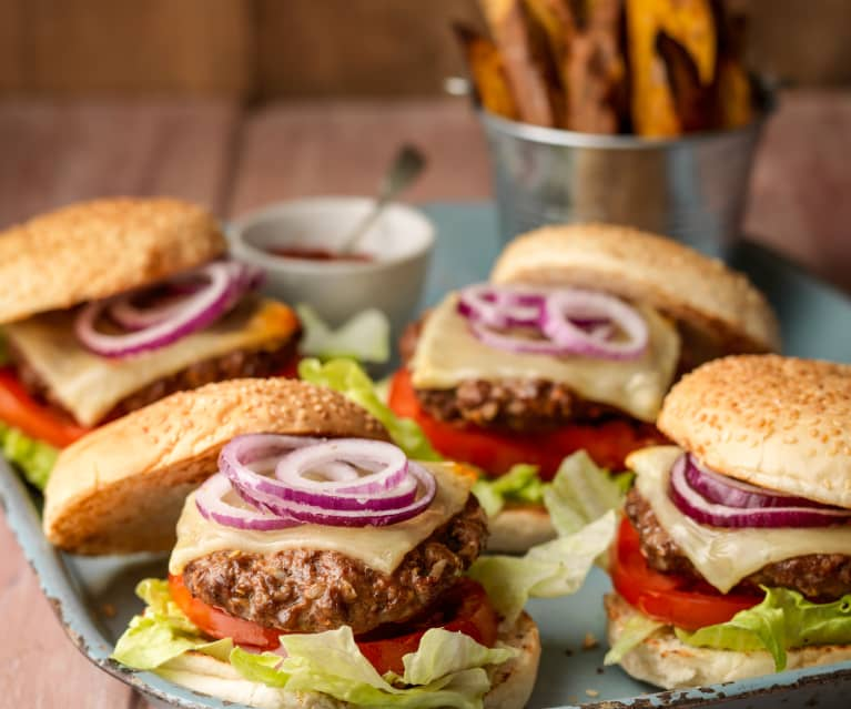 Lighter Burgers with Sweet Potato Wedges