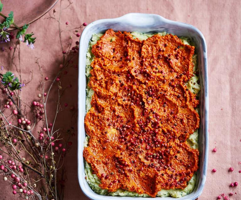Bacalhau com puré de ervas e coulis de pimentos
