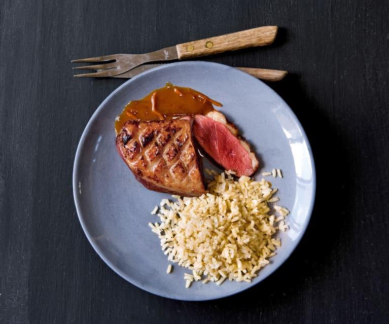 Magrets à l'orange et riz basmati complet