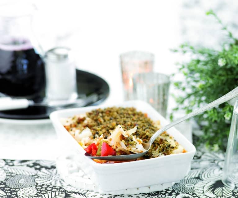 Crumble di merluzzo con pomodori e peperoni