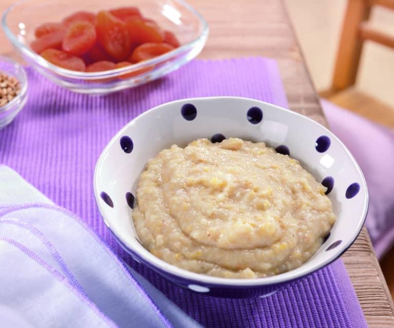 Reis-Dinkel-Milchbrei mit Aprikose