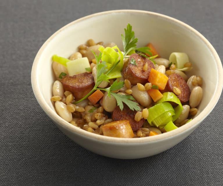 Marmite d'épeautre aux légumes et saucisse de soja