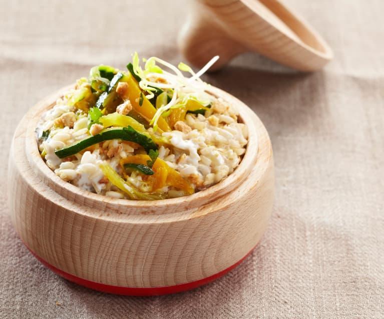 Riz complet aux légumes, lait de coco et noix de cajou