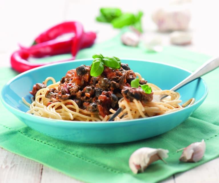 Spaghetti z kaparami i anchois