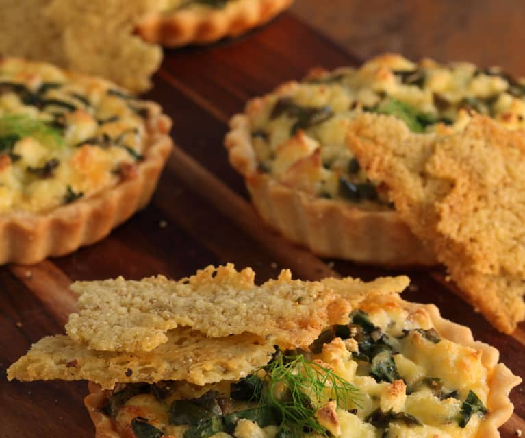 Caramelised Fennel and Ricotta Tarts with Pecorino Crisps