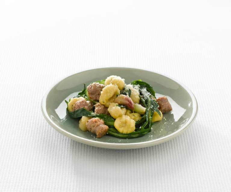 Gnocchi de lentilles et saucisse luganega