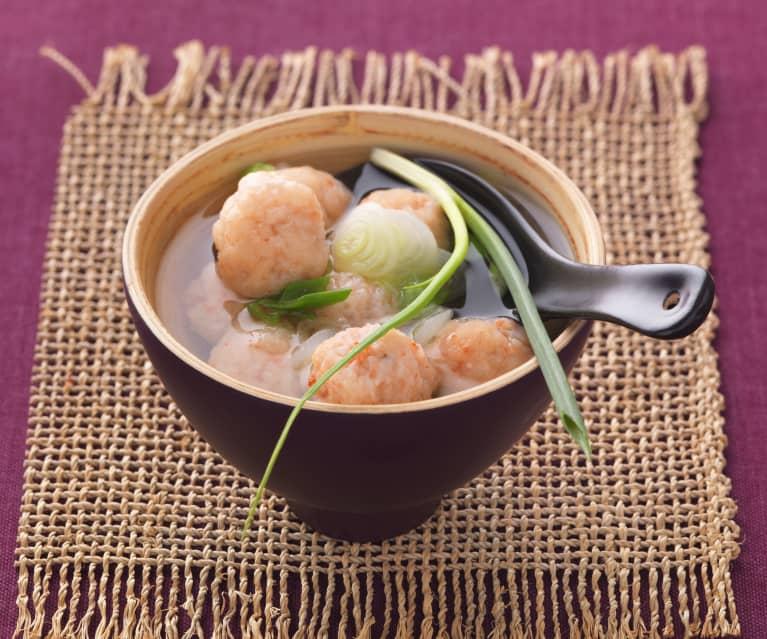 Soupe chinoise aux boulettes de crevette