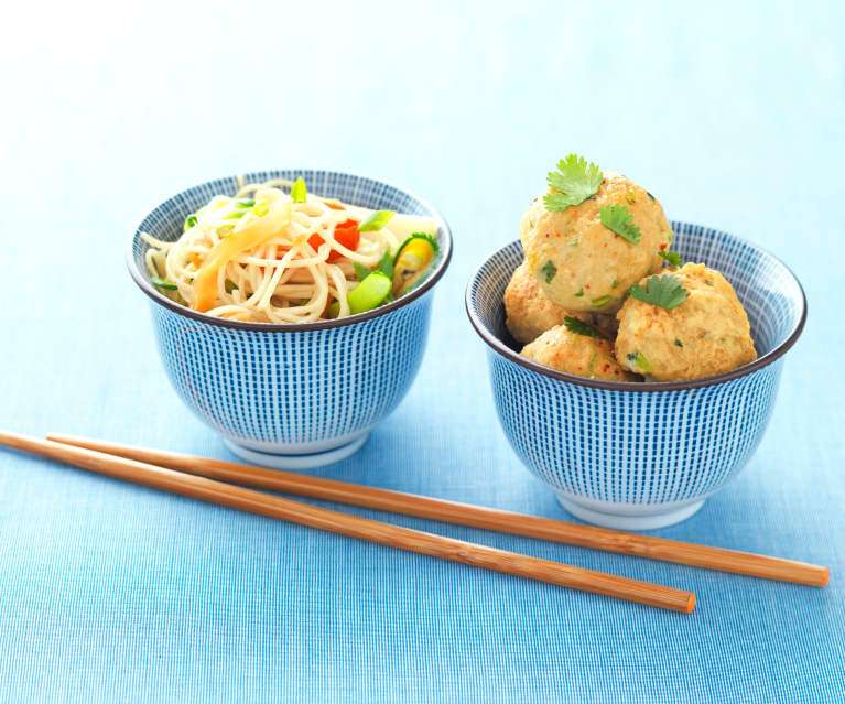Oriental Pork Meatballs with Noodles