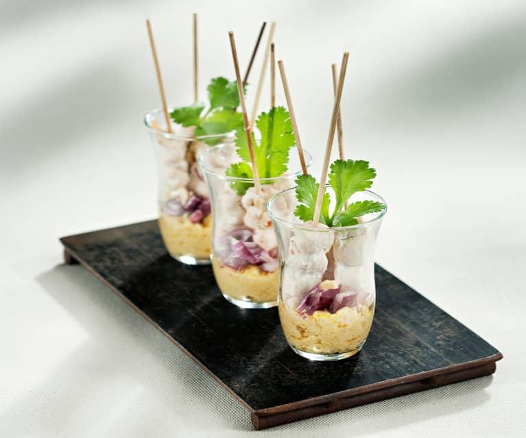 Brochetas de pollo tandoori y anacardos