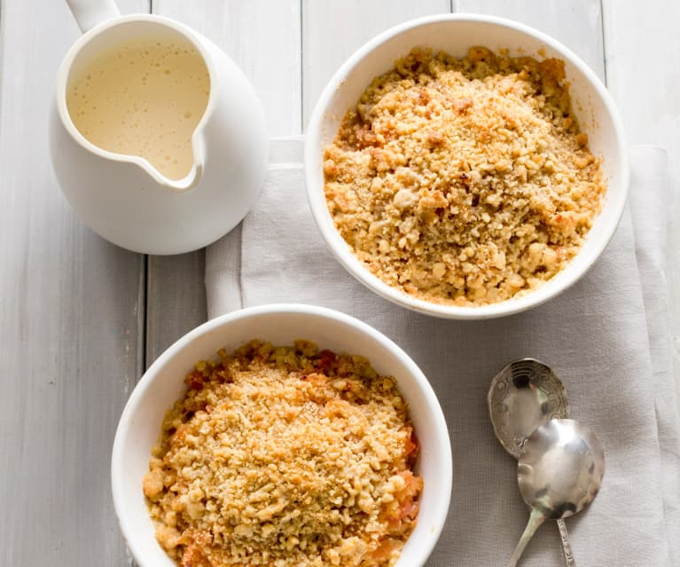 Stewed apples with walnut crumble topping
