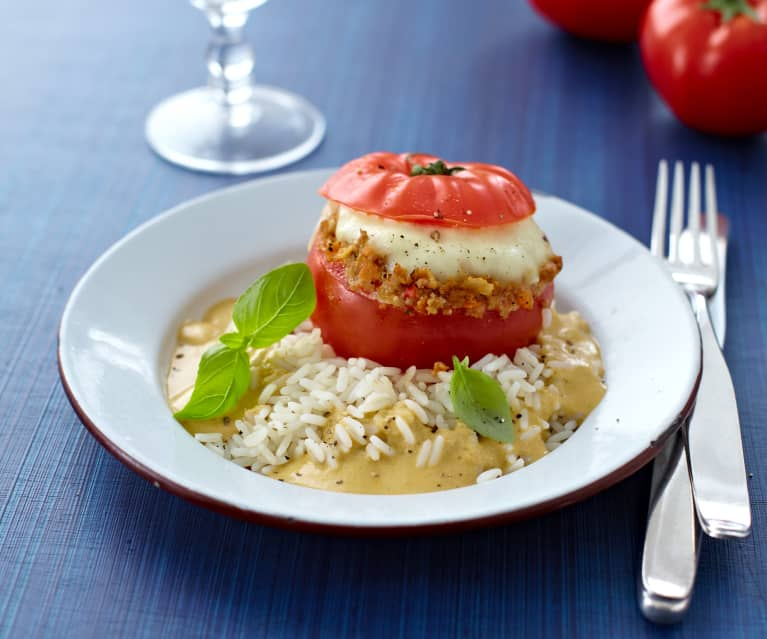 Stuffed Tomatoes with Rice and Cashew & Basil Sauce